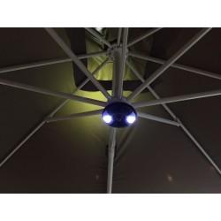 Højtaler og LED lys til parasollen
