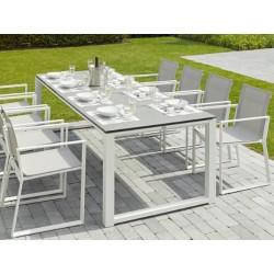 hvidt spisebord med udtræk og 8 tilhørende spisestole